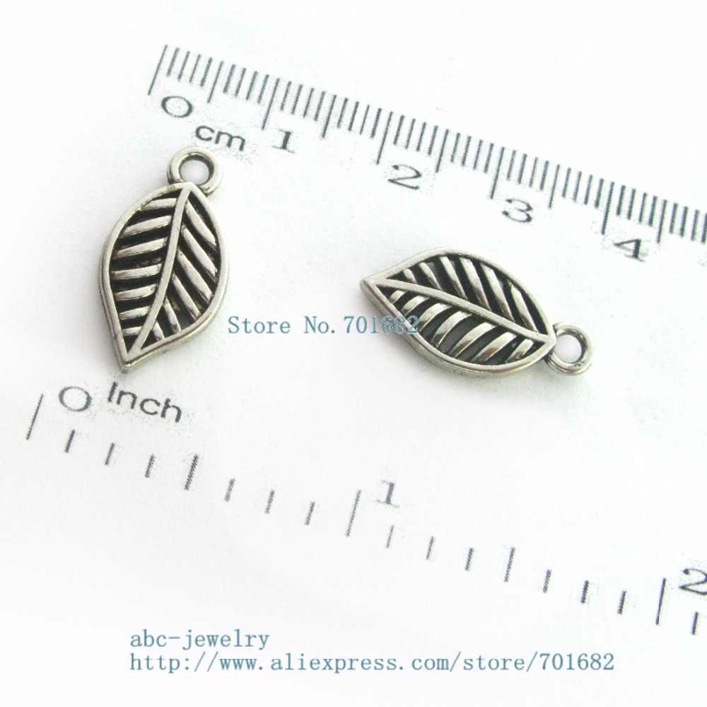DZ0069 double side Mặt Dây dangel Cổ Kim Loại Charm leaf Hạt Châu Âu Đối Bracelet DIY Trang Sức Thời Trang