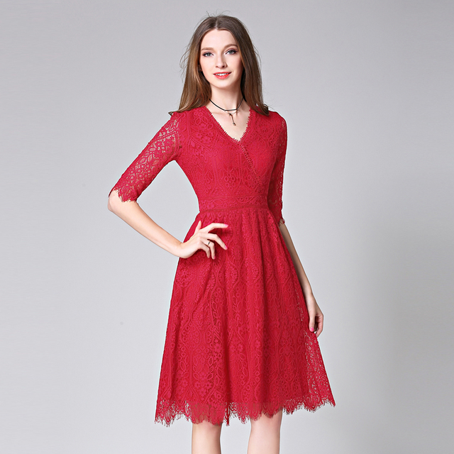 5f9f4b1372042 Autumn New Women Sexy V-Neck Lace Dress Lady Hollow Out Red Tassel Dresses  High Waist Half Sleeve Robe Plus Size Vestidos BH518A