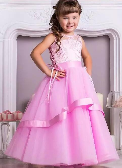 Pink Long Ball Gown Flower Girl Dresses for Wedding Party Little Girls Dresses Custom Any Size adorable fuchsia kids flower girls dresses 2018 long sheer jewel neckline lace satin ball gown custom any size