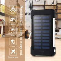 Solar Power Bank 20000mah Waterproof External Battery Backup Powerbank Phone Battery Charger Led Poverbank