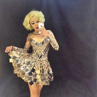 Fashion Handmade DJ Costume Roupa Feminina Rhinestone Bodysuit Stage Dress for Singers Nightclub Dress Mirror Dresses 2018