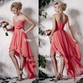 New Arrival 2015 Knee Length Pleated Chiffon Short Bridesmaid Dresses Coral For Wedding Beach Party