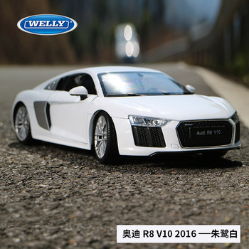 1:18 scale For Audi R8 Sport Car Model Simulated Alloy Car toy model with Suspension Steering wheel control front wheel steering image