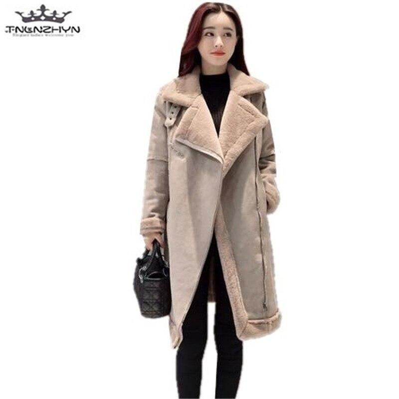 tnlnzhyn 2017 New Winter Women Coats Thick Suede Lambs Wool Coat Female Warm Cotton Jacket Fashion Slim Parkas Y541