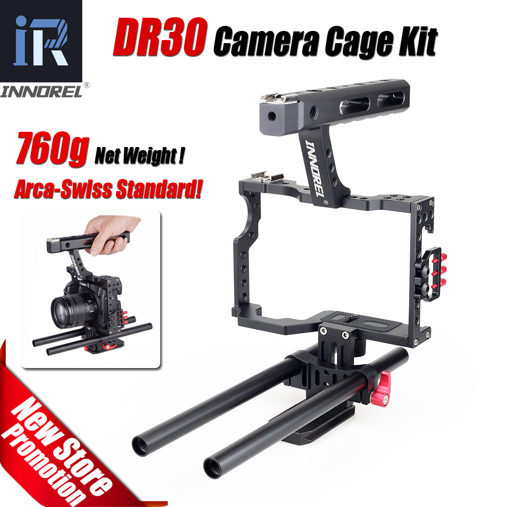 INNOREL DR30 15mm Rod Rig DSLR Video Cage Camera Stabilizer Top Handle Grip for Sony A7II A7r A7s A6300 Panasonic GH4 EOS M5 yelangu aluminum alloy camera video cage kit film system with video cage top handle grip matte box follow focus for dslr