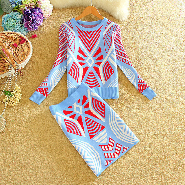 09c3e9cec08d 2017 New Women Knitting Sweater+Skirts Outfits Spring Winter Geometric  Printed Female Woman Knitted Sweaters