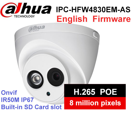 Dahua IPC HDW4830EM AS metal shell H2 65 Built in MIC WDR IR 50m 8 MP