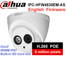 Dahua IPC-HDW4830EM-AS metal shell H2.65 Built-in MIC WDR IR 50m 8 MP IP Camera with DH-IPC-HDW4830EM-AS cctv Camera