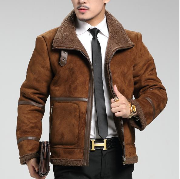 2014 New Winter Brand Mens Leather Jacket Designer Warm Lapel