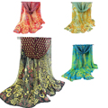X-Long Winter Scarf Luxury Brand	Wide Chiffon Scarves Women Stylish Red Black Yellow Blue Peacock Poncho Printed Shawls Echarpe
