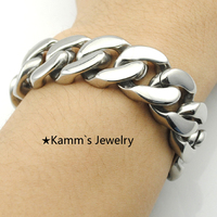 A penny stock!!!17m Width Glossy Assurance Quality Polished 2014 Hand Chain Bracelet Silver 316L Stainless Steel Women Men KB685