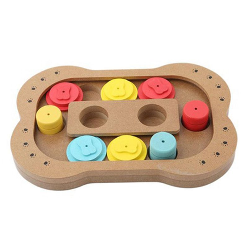 Pet Toys Claw Bone Shape Food Feeder Interactive Wooden Puzzle Toy Dog Toys Educational IQ Training Game Plate