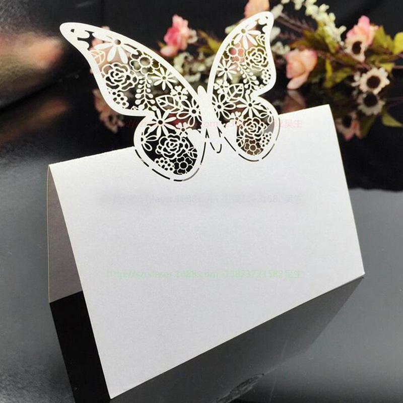 100pcs White Butterfly Laser Cut Wedding Party Table Name Place Cards Table Decoration Wedding Favors And Gifts Party Supplies 100pcs purple butterfly laser cut wedding party table name place cards table decoration wedding favors and gifts party supplies
