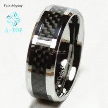 Вольфрамовое черное углеродное волокно кольцо для мужчин и женщин обручальное кольцо