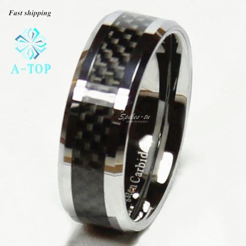 Tungsten Black Carbon Fiber Ring Men Women wedding Engagement Band Ring Free Shipping