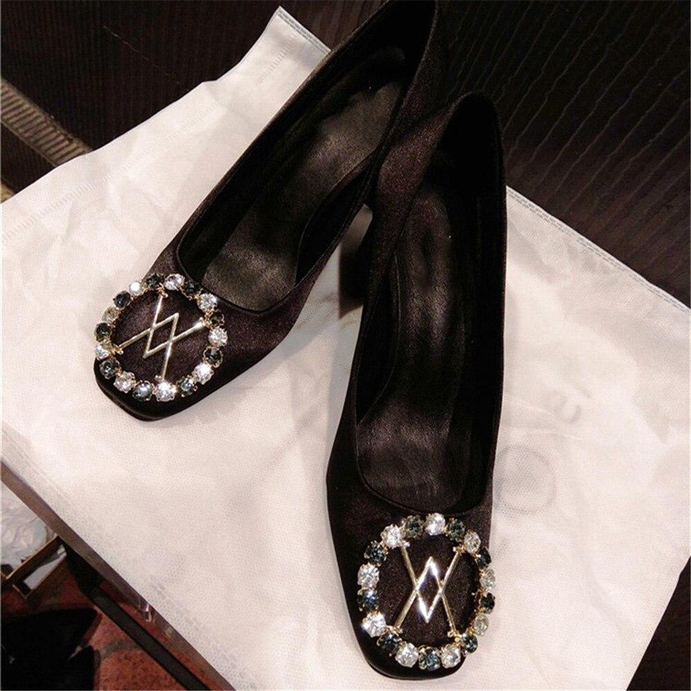 Stkehidba 패션 디자이너 브랜드 여성용 펌프 정품 가죽 여성용 펌프 탑 크리스탈 새틴 블록 힐 펌프 34 41-에서여성용 펌프부터 신발 의  그룹 2