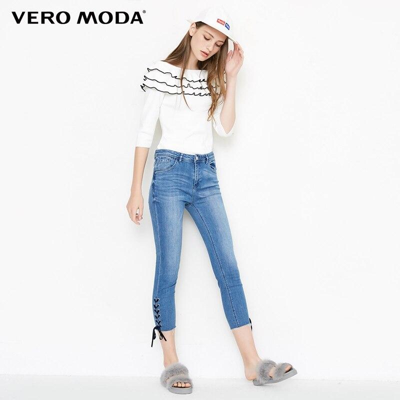 Vero Moda Women's Washed Finish Lace-up Tight-leg Capri Jeans | 31836I503