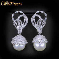 CWWZircons Elegant Shape Silver Color CZ Stone Paved Dangling Round Big Pearl Drop Earring for Women Jewelry Gift  CZ360