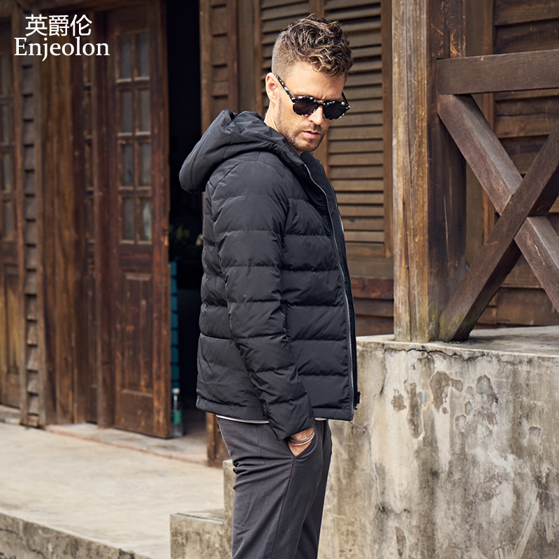 Enjeolon brand thicken winter   down   jacket men light parka   coat   men White duck   down     coat   quality   down   parka 3XL   coats   MF0107
