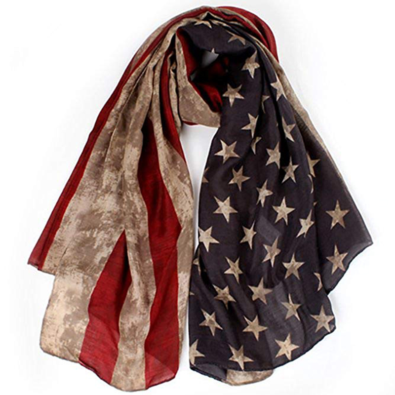 Vintage American Flag Scarf,Unisex Fashion Premium Patriotic,Red,Khaki And Blue American Flag Infinity Shawl Scarf