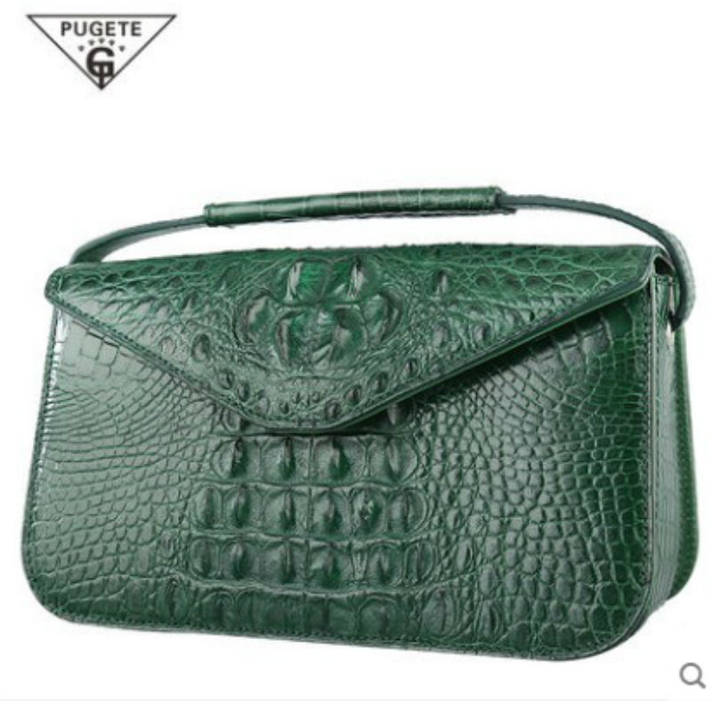 pugete crocodile leather women chain bag female leather handmade handbags original ladies single shoulder bag diagonal package 2018 new crocodile pattern female large bag the first layer of leather luxury women s rectangular shoulder bag diagonal package