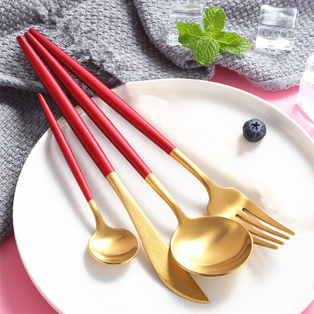 Kubac 24pcs Double Color Golden Silver Dinnerware Set Stainless Steel Dinner Knife Fork Red Teaspoon Cutlery Drop Shipping