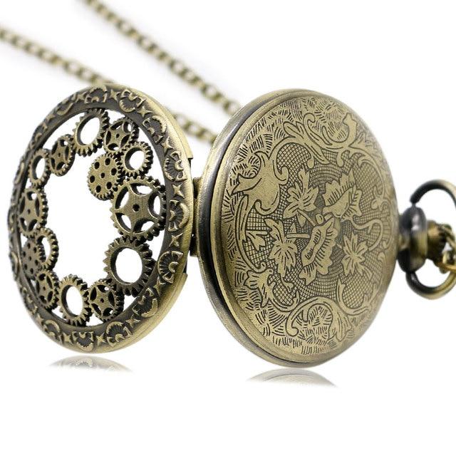 Antique Copper Steampunk Vintage Hollow Bronze Gear Hollow Quartz Pocket Watch Necklace Pendant Clock Chain Men's Women 2017