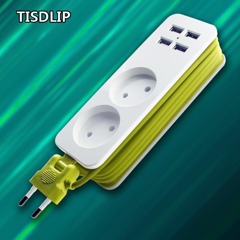 TISDLIP Мощность полосы ЕС Plug 2 AC/4 USB Порты и разъёмы расширение защита розетки от скачков напряжения Офис Электрический Удлинительный кабель с патроном Plug