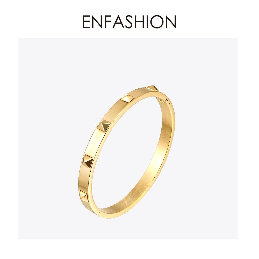 fbef5f766637 Cheap Enfashion pirámide picos brazalete Manchette de oro de acero  inoxidable de Color de la pulsera