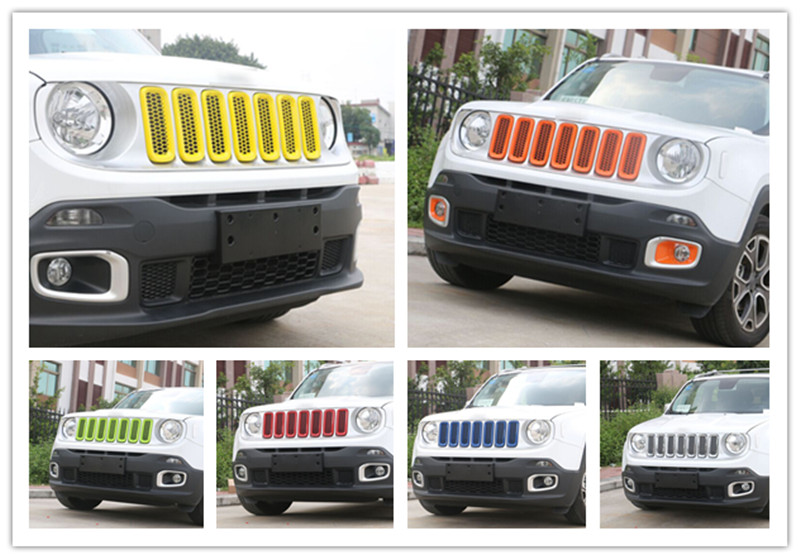7PCS/Lot Newest Car Front Vent Hole Mesh Grille Inserts Grill Trim Cover Overlay Ring Exterior Accessories ABS For Jeep Renegade silver front mesh grilles trim grill cover insert shell honeycomb fit for jeep patriot 11 2015