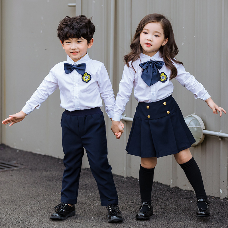 US $21 09 29% OFF|Children's New school Students British School Uniform  Cloths Boys Girls Shirt Trousers Clothing Sets Kids Performance Costume-in