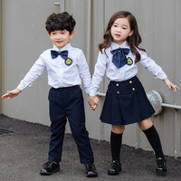 Children's New school Students British School Uniform Cloths Boys Girls Shirt Trousers Clothing Sets Kids Performance Costume