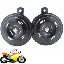 Black 110db Motorcycle Car Horn 12v JCAA Loud Speaker Tweeter Woofer Racing Air Horn for  Scooter Dirt Bike Moped ATV Go-Kart
