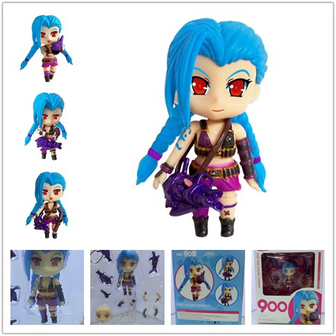 10cm LOL Jinx Figure Cute Nendoroid 900# PVC Figure The Loose Cannon Japanese Anime Hot Toy for Kids chic lace faux gem bell pendant anklet for women