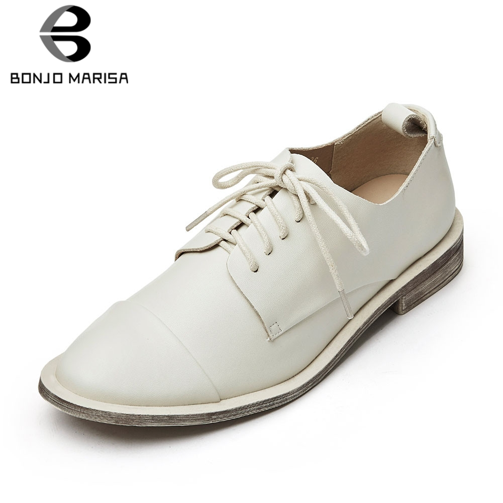 BONJOMARISA New Fashion INS Hot womens Genuine Cow Leather Lace Up Women Shoes Woman Causal Office Autumn Spring Flats 2019BONJOMARISA New Fashion INS Hot womens Genuine Cow Leather Lace Up Women Shoes Woman Causal Office Autumn Spring Flats 2019