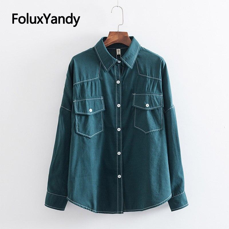Cargo Shirts Women Blouse Shirt Plus Size XXXL 4XL Loose Casual Long Sleeve Shirts Green Khaki KKFY3265