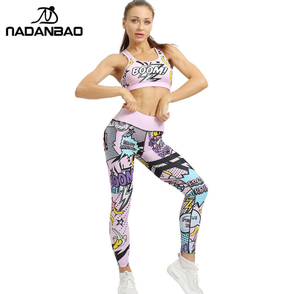 NADANBAO Fashion Cute Women   Leggings   For Fitness Sets Sporting Pants Sleeveless Top High Waist Workout Legins XXXL