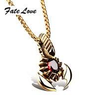 Destino Amor Punky Collar Colgante De Insectos Escorpión de Oro Collar de la Personalidad de Los Hombres de Acero Inoxidable de Color Rojo Piedra de LA CZ Joyería FL1012