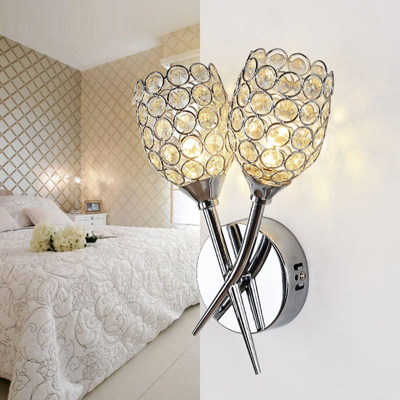Modern Crystal 2 Heads Bedsides Wall Lamp Corridor crossed Chrome Arm Creative Balcony Hallway Mirror Front Crystal Wall Sconces цена