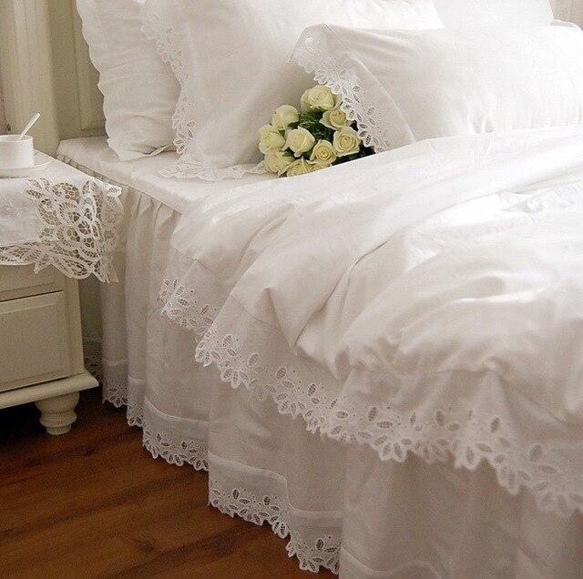 Fancy wed bordo di pizzo bianco biancheria da letto