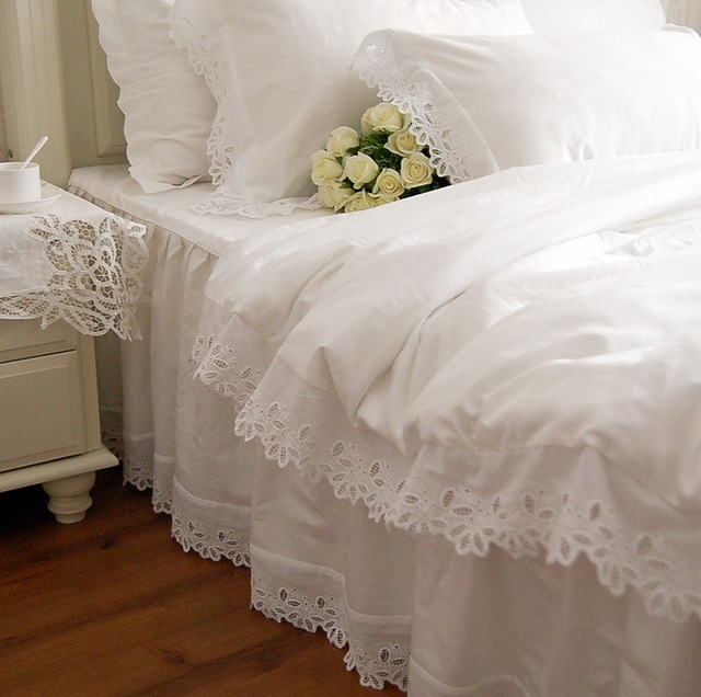 Aliexpress Com Buy Fancy Wed White Lace Edge Bedding
