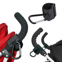 Gancho y correa de aluminio, mosquetón grande negro para cochecito, ganchos de cochecito para bebé colgante de bolso de compras, accesorios para cochecito