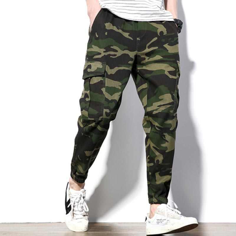 d8b87c5d ... 2018 модные Для мужчин джоггеры Повседневное камуфляжные мужские брюки  хлопок шнурок Военная армейский зеленый камуфляж Штаны