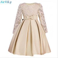 2018 Christmas Girls Dresses Long Sleeve Bud Silk Bowknot Clothes Wedding Party Dress For Girl Children