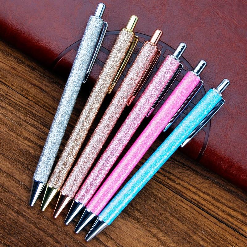 Metal Ballpoint Pen Pressing Jumping Pen High-grade Glitter Powder Shell Pen Creative Stationery Gift Office School Stationery
