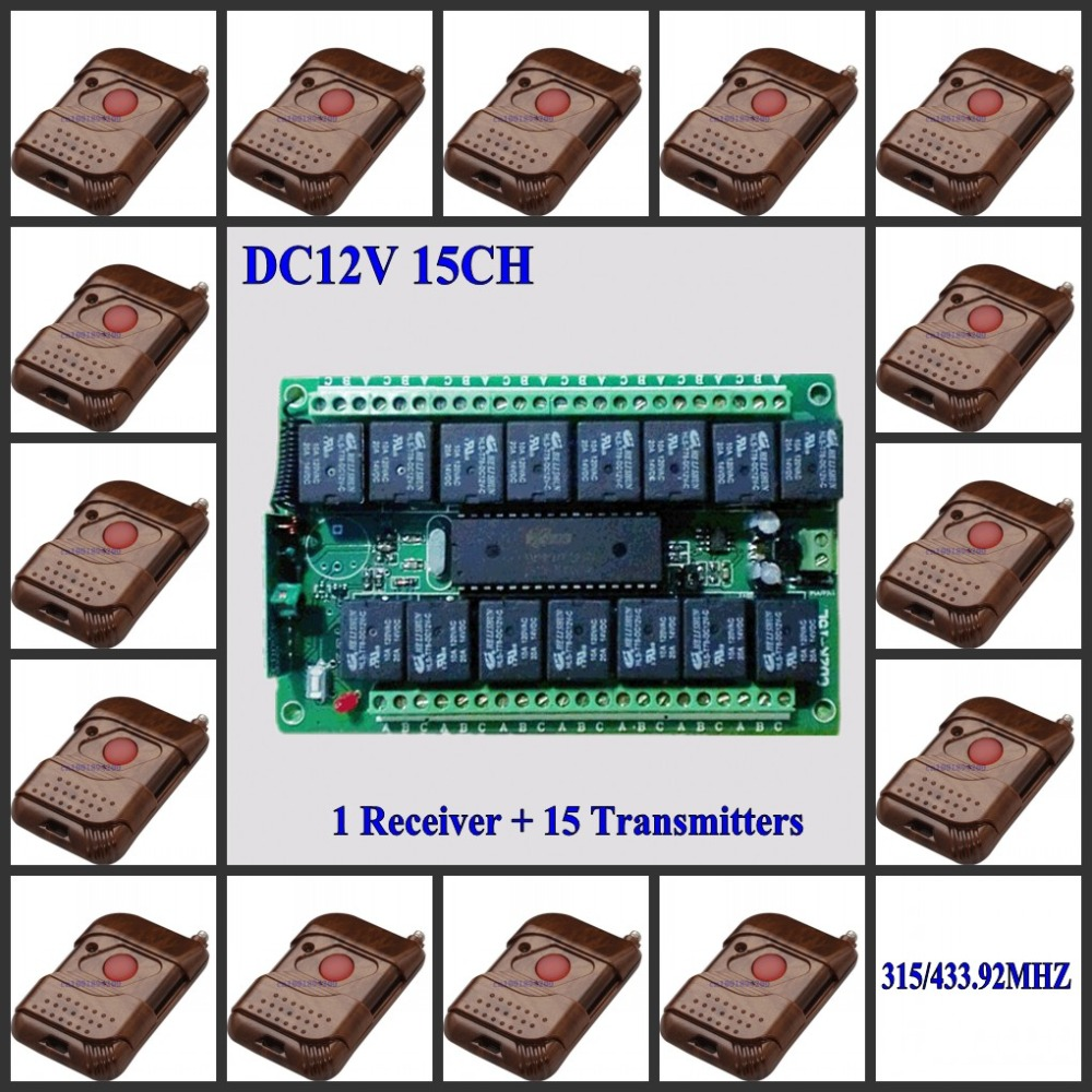 DC 12V 15CH RF Relay Receiver Board+15 Transmitters 1 Button LED Lamp Light Bulb Button Contact Wireless Switch ASK Smart Switch