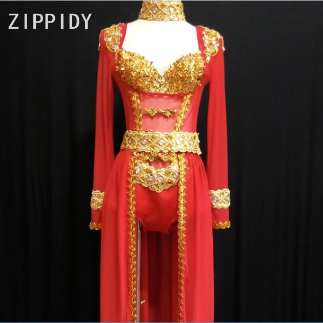 Gold Sequins Bra Birthday Celebrate Red Bodysuit Big Rhinestones Sparkly Outfit Nightclub Party Outfit Set Women Singer Clothes