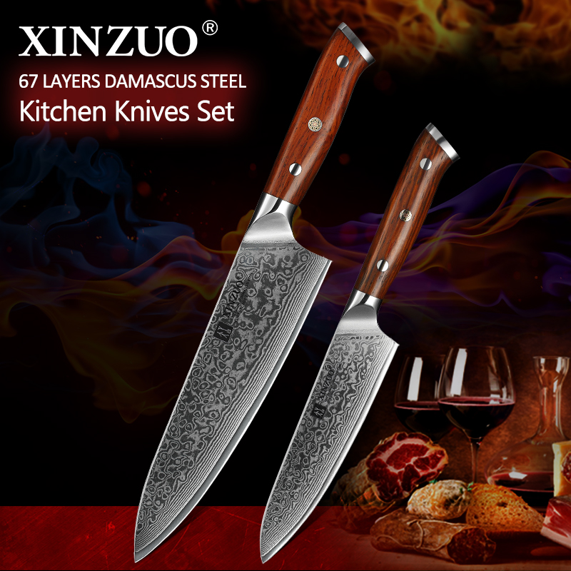 XINZUO 2PCS Chef Kitchen Knife Set Japan VG10 Damascus Steel Chef Utility Knives Rosewood Handle Best Quality Kitchen Cook ToolsXINZUO 2PCS Chef Kitchen Knife Set Japan VG10 Damascus Steel Chef Utility Knives Rosewood Handle Best Quality Kitchen Cook Tools