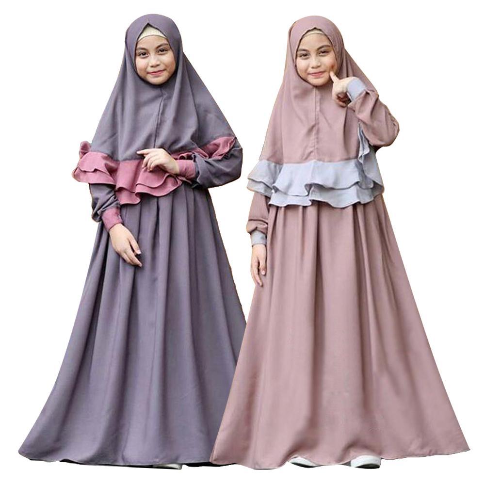 Girls Dress Scarf Muslim Child Long Sleeve Kaftan Abaya Islamic Dubai Kids Robes