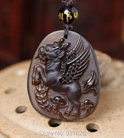 Beautiful Handwork Natural Ice Clear Obsidian Carved Lucky Dragon Horse Amulet Pendants +free Necklace Fine Fashion Jewelry